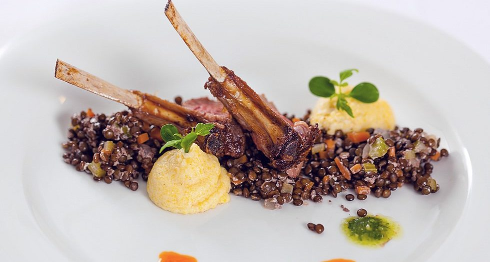 Dry-Aged-Lamb-Chops-with-Lentil-Salad-and-mashed-Potatoes