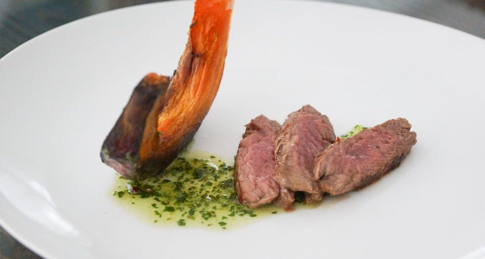 Dry-Aged Beef Strips with roast pumpkin and herb sauce