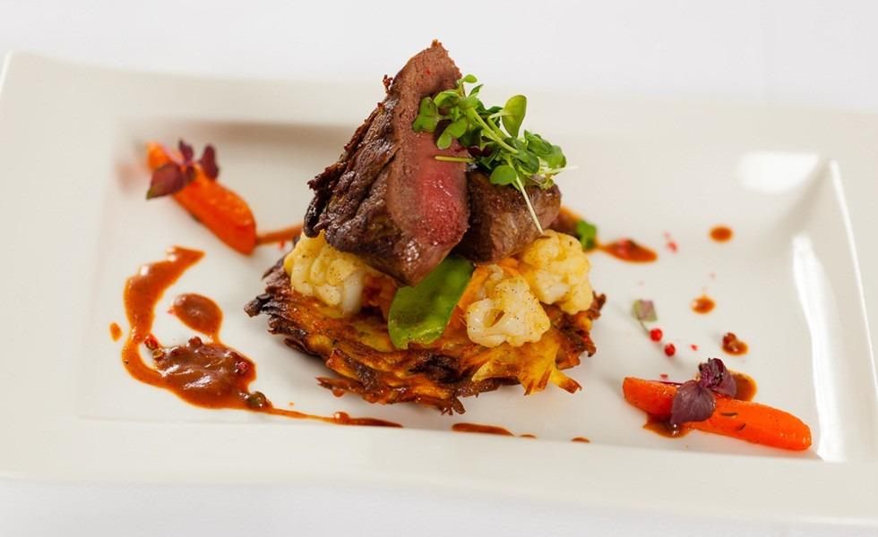 Dry-Aged Beef fillet with potato pancakes and vegetable bed
