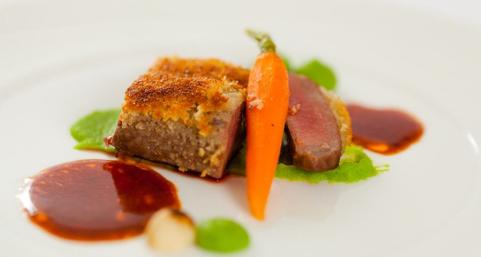Dry-Aged Beef fillet with parmesan crust and pea puree